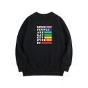 Leisure Boys Long Sleeve Crew Neck Letter SOME PEOPLE ARE GAY GET OVER IT Stripe Printed Oversize Pullover Sweatshirt
