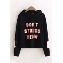 Casual Girls Long Sleeve Drawstring Letter DON'T STRESS MEOW Cat Graphic Relaxed Fit Hoodie