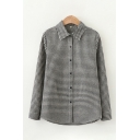 Leisure Black Long Sleeve Lapel Collar Button Up Plaid Patterned Relaxed Fit Shirt for Women