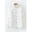Cool Lovely Girls Long Sleeve Lapel Collar All Over Pig Embroidered Button Up Curved Hem Relaxed Fit Shirt