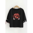 Cool Harajuku Bell Sleeve Round Neck Cat Print Japanese Letter Bow Tied Loose T-Shirt in Black