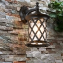 Pineapple Water Glass Wall Mount Light Rustic 1 Head Outdoor Sconce Lamp Fixture in Black