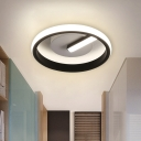 Creative Ring Ceiling Flush Mount Minimalist Acrylic Black LED Light Fixture for Corridor in Warm/White Light