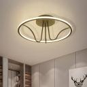 Minimalist Circular Semi Flush Light Acrylic Bedroom LED Flush Mount Ceiling Lamp in Black