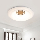Acrylic Circular Flush Mount Light Simplicity White LED Ceiling Flush Mount with Wooden Deco in Warm/White Light