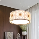 Drum Shaped Hanging Lamp Contemporary Metallic 1 Head White Suspended Lighting Fixture for Restaurant, 18