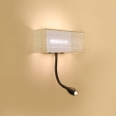 White Cuboid Wall Mount Lamp Minimalism Iron Net Designed LED Sconce Light Fixture with Spotlight for Study Room