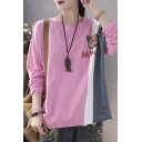 Unique Ladies Long Sleeve Round Neck Bear Letter MM Embroidery Color Block Ripped Rolled Edge Relaxed Fit T Shirt