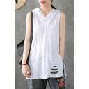 Simple Cool White Sleeveless Hooded Ripped Slit Side Rolled Edge Relaxed Tee Top for Girls