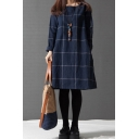 Fashionable Girls Long Sleeve Round Neck Checker Printed Linen and Cotton Midi Oversize Dress in Navy