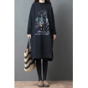 Trendy Girls Roll Up Sleeves Crew Neck Cartoon Letter Graphic Sherpa Liner Midi Oversize Dress in Black