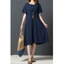 Leisure Simple Ladies Solid Color Short Sleeve Round Neck Ruched Linen and Cotton Long Swing Dress