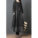 Cool Vintage Ladies Solid Color Roll Up Sleeve Lapel Collar Button Up Bleach Curved Hem Maxi Oversize Denim Dress