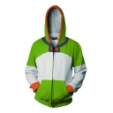 Famous Valcuto 3D Cosplay Print Color Block Long Sleeve Zipper Front Relaxed Fit Trendy Hoodie in Green