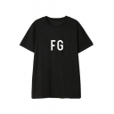 Chic Street Mens Short Sleeve Round Neck Letter FG Print Relaxed Fit T-Shirt