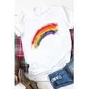 Basic White Rolled Short Sleeves Crew Neck Colorful Stripe Printed Slim Fitted T Shirt for Girls