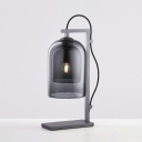 Elongated Dome Night Lamp Simplicity Stylish Gray Glass 1 Light Bedroom Table Light