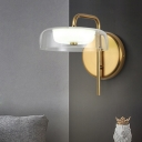 1 Bulb Bedroom Sconce Light Minimal Gold Wall Lighting with Rectangle Clear Glass Shade
