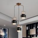 Modernism Cylinder Metallic Hanging Light Fixture 3 Heads Pendant Lighting Fixture in Black