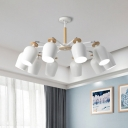 Modernist Tulips Ceiling Mounted Fixture Iron 5/10 Bulbs White and Beige Semi Flush Lighting