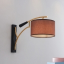 Fabric Cylindrical Sconce Lighting Modernist 1-Light Wall Mount Lamp in Coffee/Flaxen with Fishing-Rod Arm