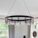 Hoop Living Room Hanging Lighting Black Glass Panel LED Modernist Ceiling Pendant Lamp in White/Warm Light