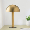 Metal Bowl Night Table Lamp Luxurious 1-Head Gold Nightstand Lighting for Living Room