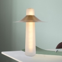 Flared Nightstand Light Postmodern Metal LED Bedroom Night Table Lamp with White Glass Base