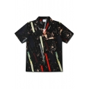 Mens Stylish Short Sleeve Lapel Neck Abstract Stripe Pattern Button Down Relaxed Shirt in Black
