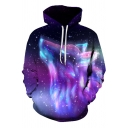 Fancy Creative Mens Long Sleeve Drawstring Wolf 3D Digital Pattern Relaxed Fit Purple Hoodie with Pocket
