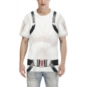 Stylish Mens Short Sleeve Round Neck Geo Belt 3D Cosplay Pattern Color Block Relaxed Costume Tee Top