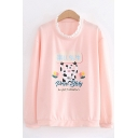Popular Girls Long Sleeve Crew Neck Letter PROD BLDG Cow Graphic Lace Trim Loose Fit Pullover Sweatshirt