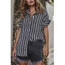 Chic Cool Girls Rolled Short Sleeve Lapel Neck Button Down Stripe Print Loose Fit Shirt