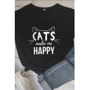 Casual Girls Short Sleeve Crew Neck Letter CATS MAKE ME HAPPY Cat Graphic Relaxed Fit T-Shirt