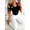 Sexy Ladies Short Sleeve Cold Shoulder Eyelet Hollow Out Solid Color Fitted Tee Top