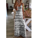 Casual Womens Sleeveless V-Neck Stripe Patterned Maxi A-Line Cami Dress
