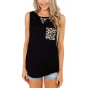 Fashion Ladies Sleeveless Round Neck Leopard Panel Loose Fit Tank Top