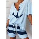 Leisure Womens Short Sleeve V-Neck Anchor Pattern Loose Tee & Drawstring Waist Striped Relaxed Shorts