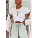 Simple Trendy Womens Short Sleeve Crew Neck Crisscross Fitted Crop White T Shirt