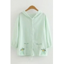 Lovely Girls Long Sleeve Button Down Cat Embroidered Drawstring Hem Relaxed Hooded Cardigan