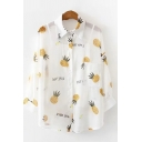 Pretty Chic Womens Long Sleeve Lapel Collar Single Breasted All Over Fruit Letter PINEAPPLE Print Relaxed Fit White Shirt with Cami
