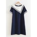 Leisure Girls Short Sleeve Asymmetric Sailor Collar Stripe Print Colorblock Short A-Line Dress