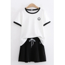 Womens Stylish Short Sleeve Round Neck Smile Face Print Contrasted Tee & Drawstring Waist Mini Pleated A-Line Skirt