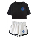 Womens Chic Short Sleeve Crew Neck Letter NASA Print Relaxed Crop Tee & Contrast Piped Shorts