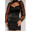 Black Sexy Blouson Sleeve Mock Neck Cut Out Front Sheer Mesh Patched Short Sheath Dress for Club Girls