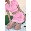 Pretty Cute Ladies Short Sleeve Lapel Neck Zipper Front Contrast Piped Velvet Fit Crop Top & Short Ruffled Tight Skirt Co-ord