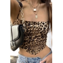 Sexy Ladies Sleeveless Leopard Printed Asymmetric Hem Hollow Out Bow Tie Back Fit Crop Cami Top
