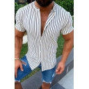 Chic Street Boys Short Sleeve Stand Collar Button Up Stripe Print Slim Fit Shirt