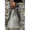 Unique Stylish Boys Drawstring Waist Leopard Printed Long Slim Fit Trousers