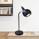 LED Iron Desk Light Industrial Black Finish Domed Study Room Plug In Night Table Lamp